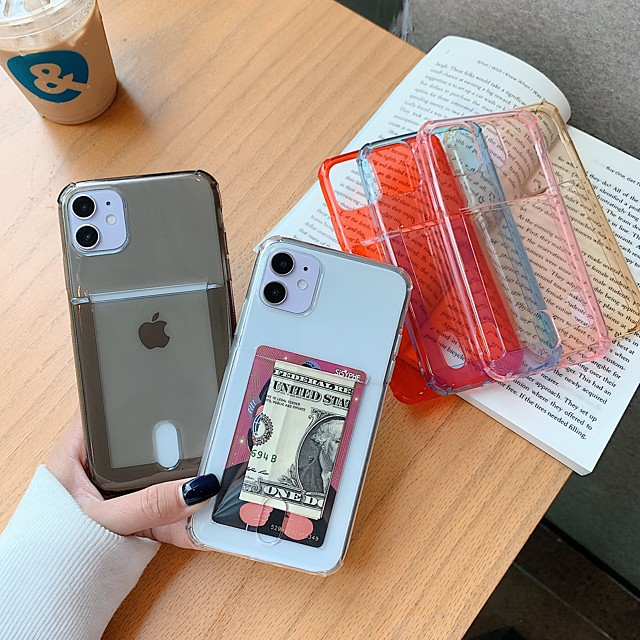 hoesje voor iphone 7 8 7plus 8plus x xr xs xsmax se (2020) iphone 11 11pro 11promax iphone 12 kaarthouder schokbestendig ultradunne achterkant transparant effen gekleurd tpu