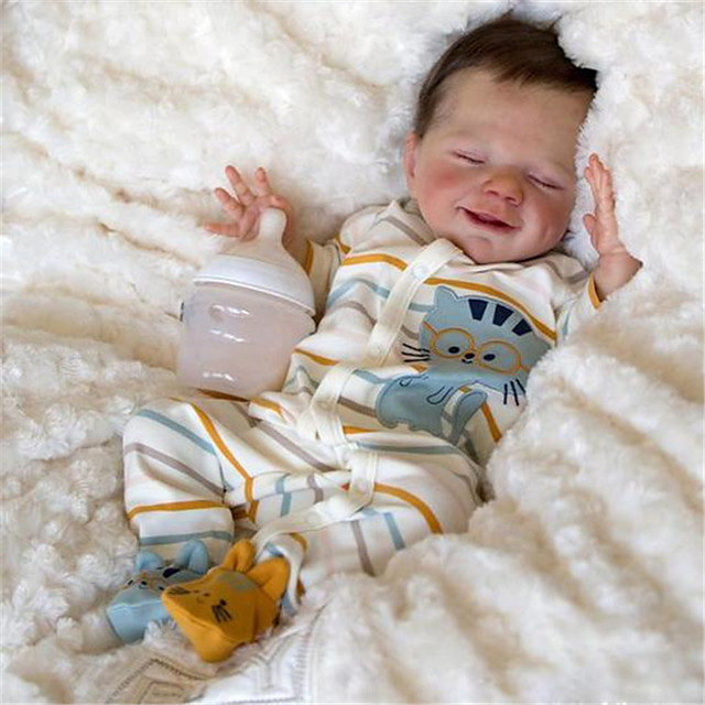 20 pouce Poupée Reborn Jouet pour Bébé & Nourrisson Bébés Fille Avril Nouveau née réaliste Fabrication à la main Tissu Vinyle de silicone cadeaux noël enfant avec vêtements et accessoires pour les