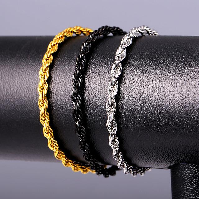 رجالي أساور التفاف حبل أصفاد موضة الفولاذ المقاوم للصدأ مجوهرات سوار أسود / ذهبي / فضي من أجل هدية مناسب للبس اليومي