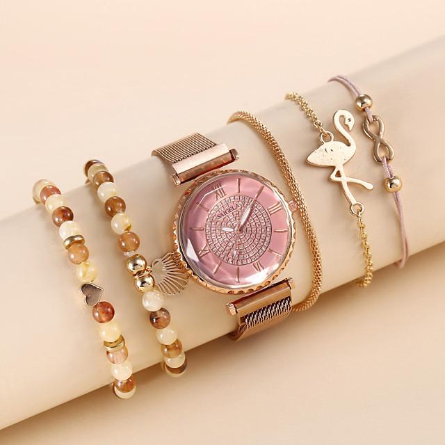 Dames Armbandhorloge Quartz Horloge Kwarts Moderne Style Stijlvol Elegant Chronograaf Analoog Wit Blozend Roze / imitatie Diamond