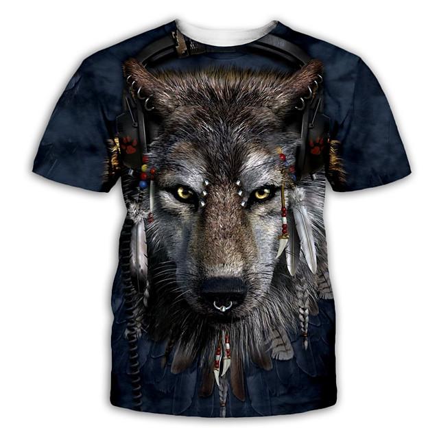 Voor heren T-shirt 3D-afdrukken Grafisch Opdruk Korte mouw Feest Tops overdreven Marineblauw
