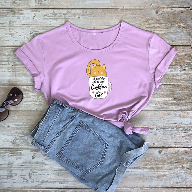 Dames T-shirt Kat Opdruk Ronde hals Tops 100% katoen Basic Basis Top Wit Paars Rood