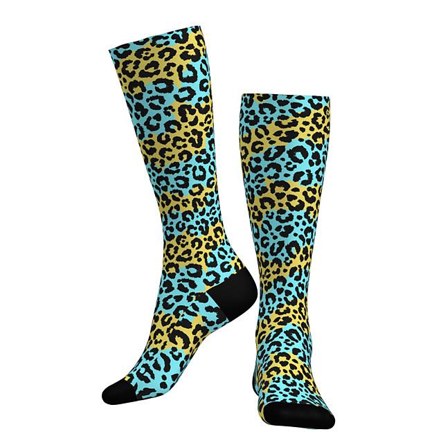 Compressie Sokken Lange sokken Over de kuit sokken Sport Sokken Wielrensokken Voor heren Dames Fietsen / Wielrennen Ademend Zacht Comfortabel 1 paar Luipaard Katoen Blauw + geel M L / Rekbaar
