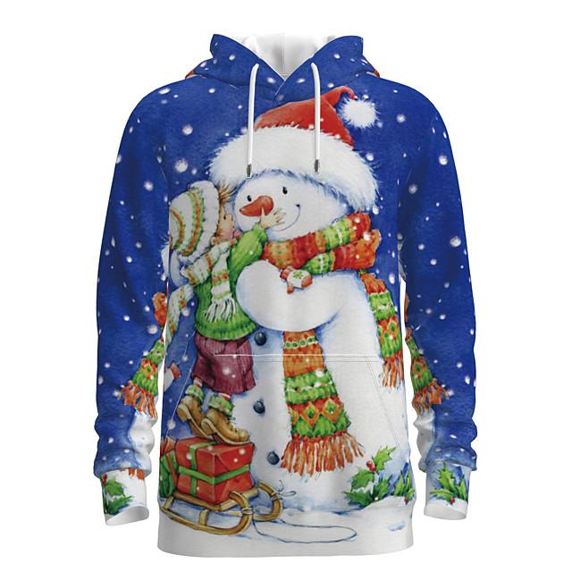 Papa en ik Hoodie & Sweatshirt Sneeuwpop 3D Print Opdruk Lange mouw Basic Normaal blauw