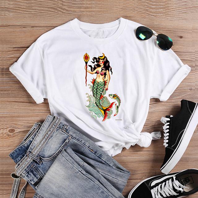 Dames T-shirt Grafische prints Letter Opdruk Ronde hals Tops 100% katoen Basic Basis Top Wit Paars Rood