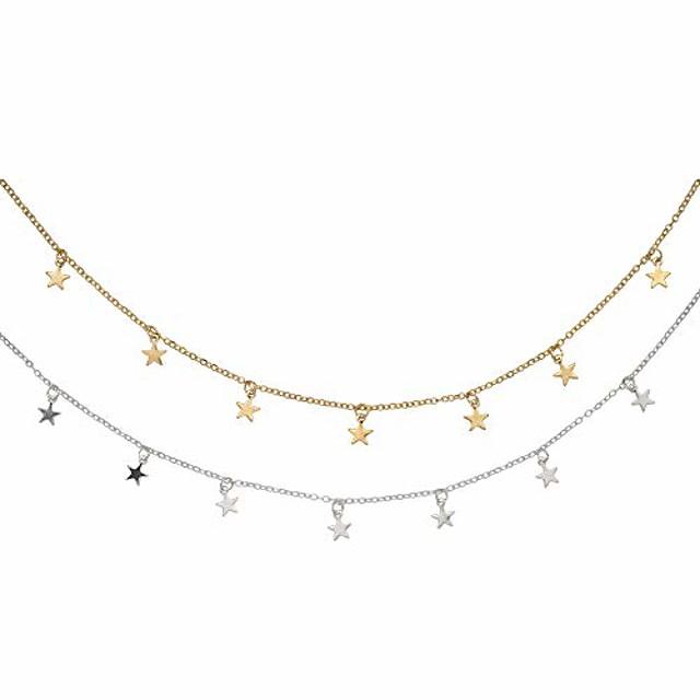 2 stks ster choker ketting set sierlijke gouden en zilveren ster kwastje ketting hanger statement ketting kraag voor vrouwen meisjes