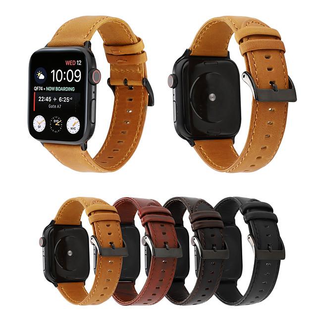 Ver Banda para Apple Watch Series 6 / SE / 5/4 44 mm / Apple Watch Series 6 / SE / 5/4 40 mm / Apple Watch Series 3/2/1 38 mm Apple Hebilla Clásica Cuero Auténtico Correa de Muñeca
