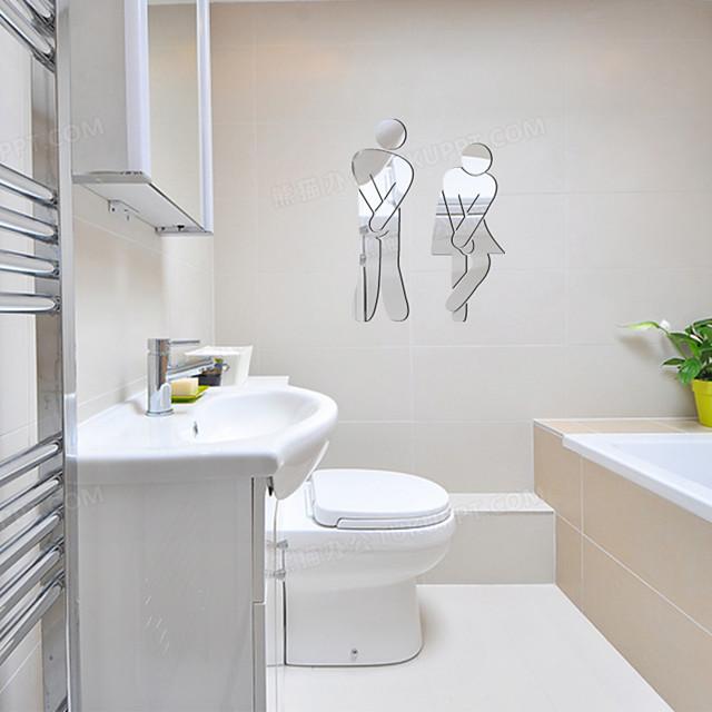 3d muurstickers spiegel muurstickers toilet decoratieve muurstickers, acryl woondecoratie muurtattoo wanddecoratie 1pc 11 * 17cm