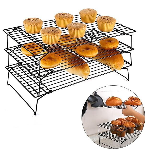 3-laags stapelbaar rugrek, koelrek voor koekjes, cakes en brood