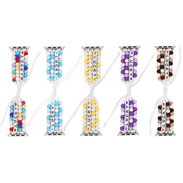 diy heldige perler flettet for Apple Watch Series 5/4/3/2/1 elastisk stropp til iwatch 38mm / 40mm / 42mm / 44mm kvinner jenter håndlagde smykker armbånd