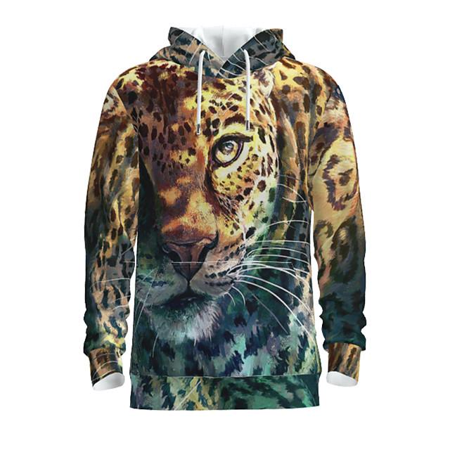 Voor heren Sweatshirt met capuchon Grafisch dier Capuchon Dagelijks 3D-afdrukken Basic Hoodies Sweatshirts Lange mouw Geel