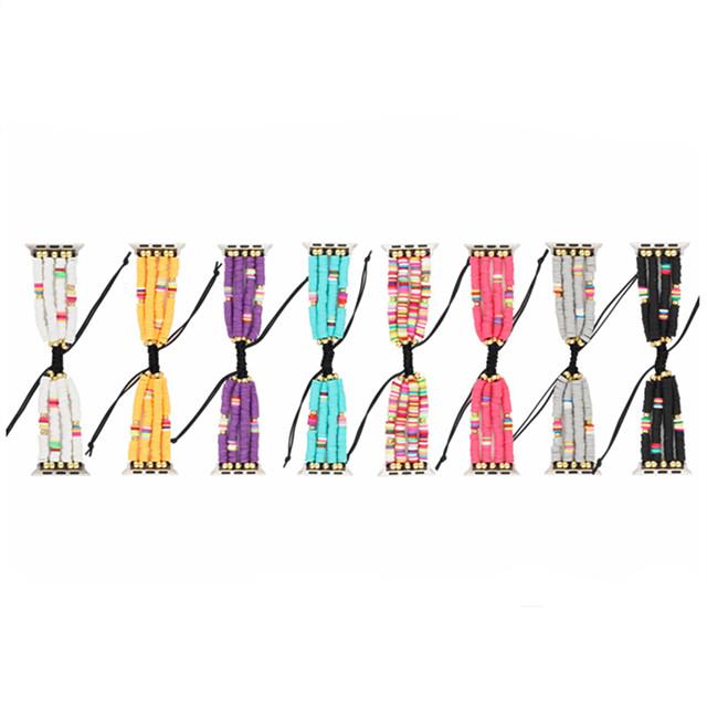 アップルウォッチシリーズ5/4/3/2/1と互換性のあるユニークな弾性ストレッチボヘミアンビーズブレスレットバンド交換ストラップ女性女の子