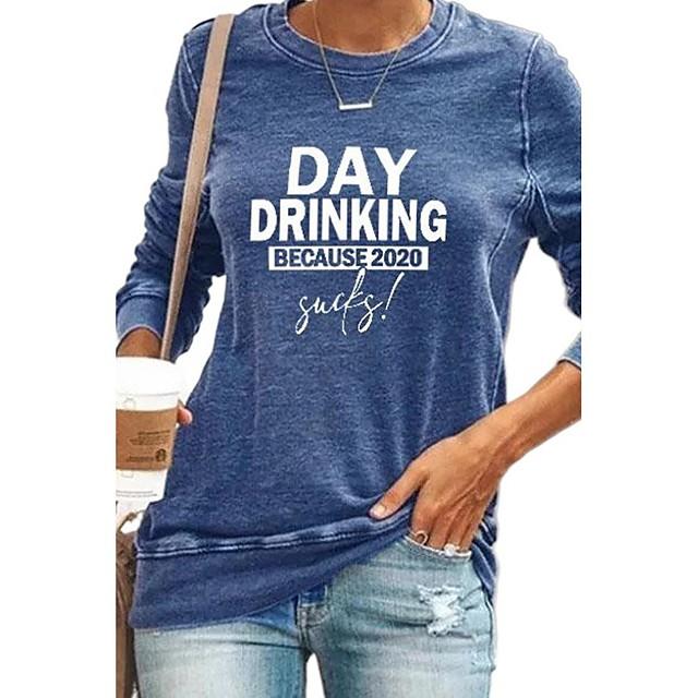 Dames Pullover Sweatshirt Grafisch Tekst Letter Dagelijks Andere prints Informeel Hoodies Sweatshirts Zwart blauw Klaver