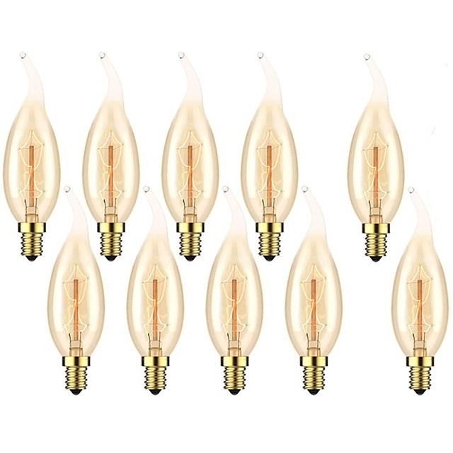 10 pcs 6 pcs 4 pcs 40 W E14 C35L Jaune Chaud 2200-2700 K Rétro Dimmable Décoratif Incandescent Vintage Edison Ampoule 220-240 V