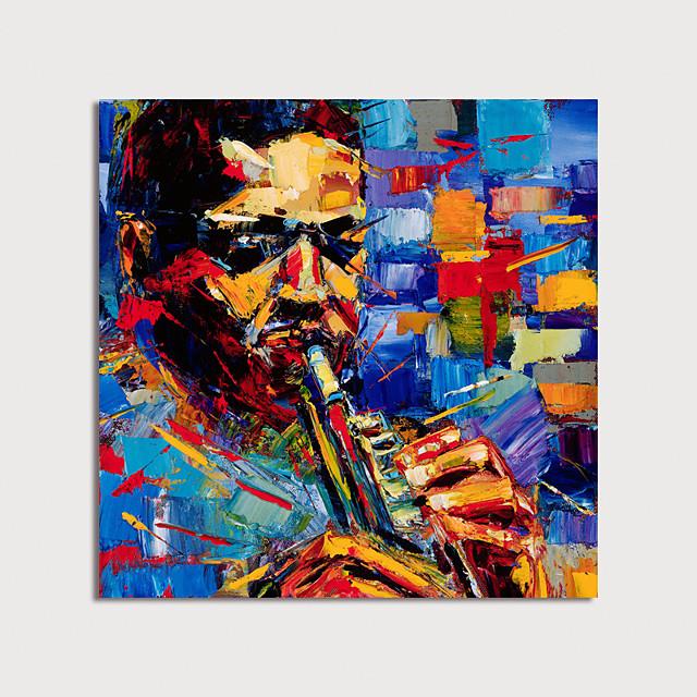 Hang-geschilderd olieverfschilderij Handgeschilderde Vierkant Abstract Mensen Modern Zonder Inner Frame (Geen frame)