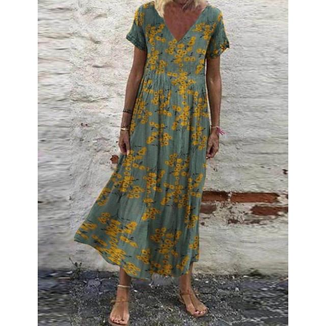 Women's Swing Dress Maxi long Dress Gray Green White Red Short Sleeve Floral Print Print Spring Summer V Neck Hot Casual Loose 2021 S M L XL XXL 3XL 4XL 5XL