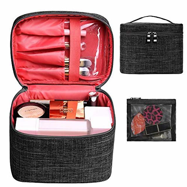 makeup taske rejse stor kosmetisk taske organisator pose med mesh taske børsteholder fyldes op på toilettasker til kvinder