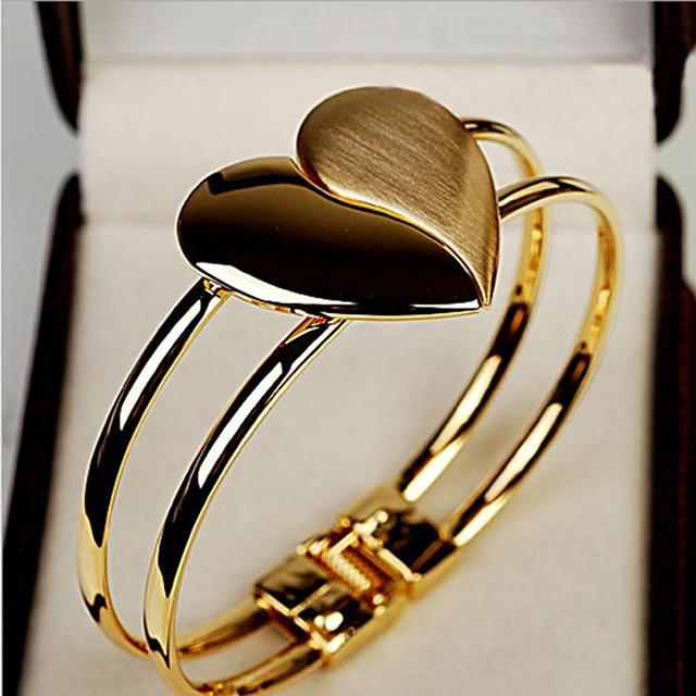 Dames Cuff armbanden Klassiek Hart Stijlvol Legering Armband sieraden Goud Voor Lahja Festival