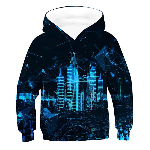 Kinderen Jongens Actief Basic 3D Lange mouw Hoodie & Sweatshirt blauw