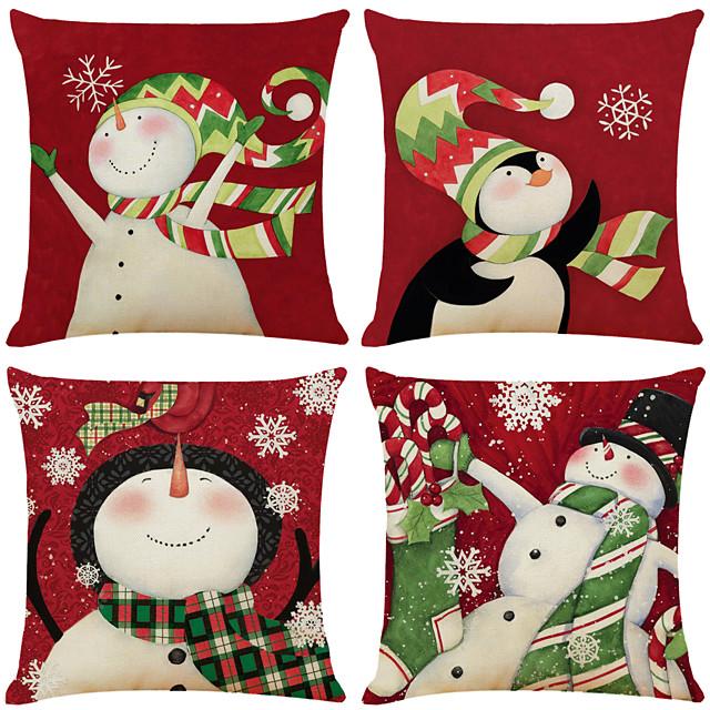 1 set van 4 stuks kerstserie decoratieve linnen sierkussenhoes 18 x 18 inch 45 x 45 cm