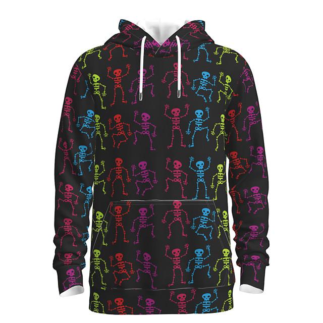 Voor heren Sweatshirt met capuchon Grafisch Doodskoppen Capuchon Halloween Weekend 3D-afdrukken Informeel Halloween Hoodies Sweatshirts Lange mouw Zwart