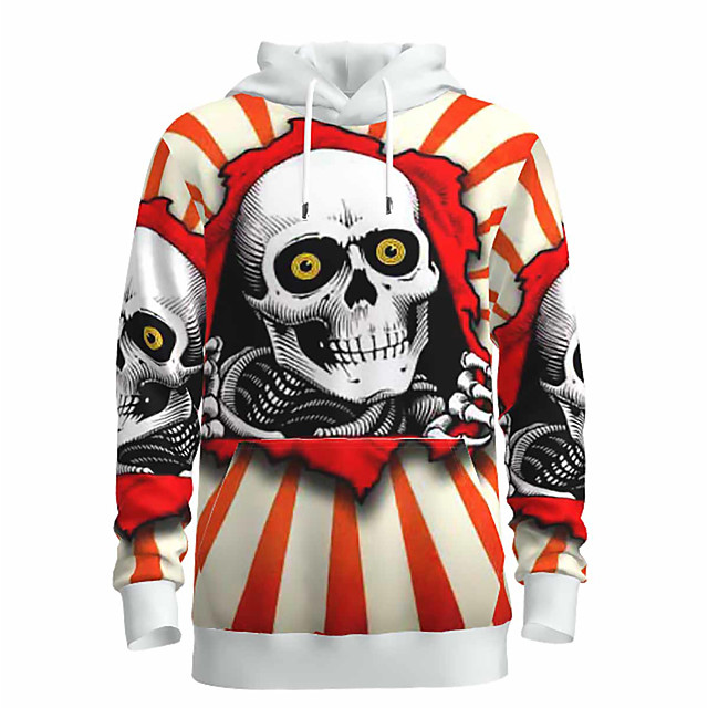 Voor heren Halloween Sweatshirt met capuchon 3D Grafisch Doodskoppen Capuchon Basic Halloween Hoodies Sweatshirts Lange mouw Wit