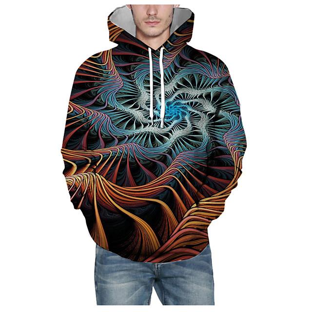 Voor heren Dagelijks Sweatshirt met capuchon Print 3D Grafisch Capuchon Basic Hoodies Sweatshirts Lange mouw Zwart
