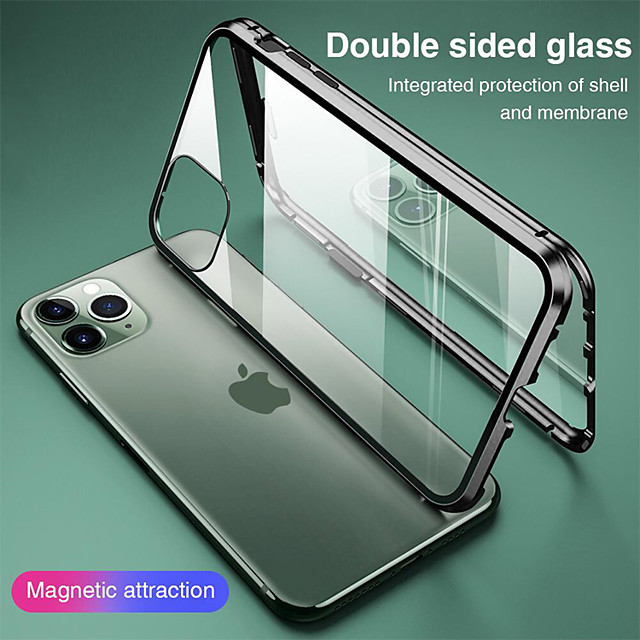 магнитный чехол для iphone 11 xr se2020 двухстороннее стекло 360 защита прозрачный защитный чехол металлический магнит адсорбционный чехол для мобильного телефона для iphone 11 pro max xsmax xs x 8 pl