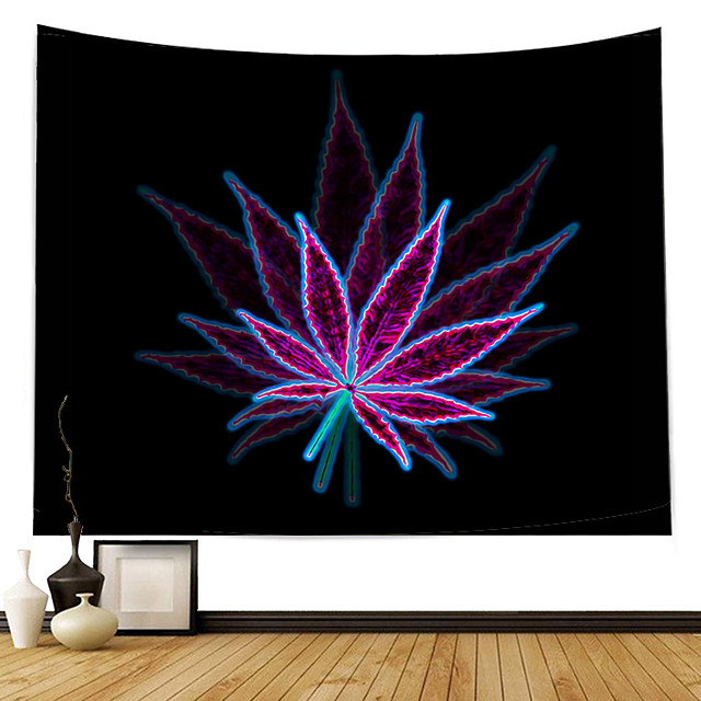 Wall Tapestry Art Decor Blanket Curtain Picnic Tablecloth Hanging Home Bedroom Living Room Dorm Decoration Polyester Modern Purple Maple Leaf