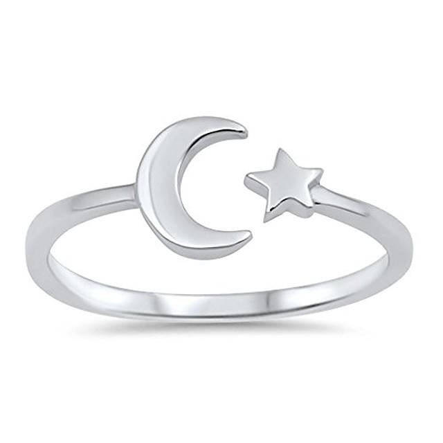 hoogglans open maan ster ring nieuw .925 sterling zilver eenvoudige band maat 13