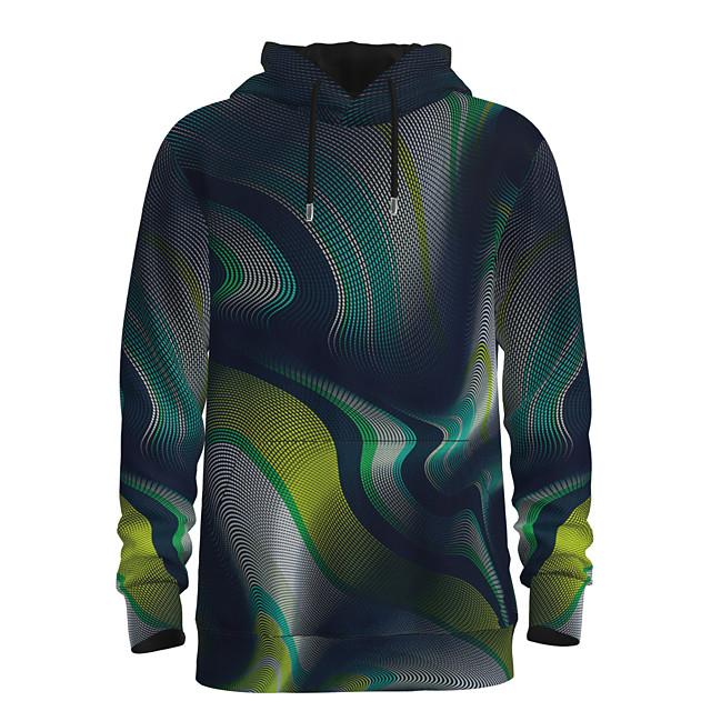 Voor heren Dagelijks Sweatshirt met capuchon Gestreept 3D Grafisch Capuchon Basic Hoodies Sweatshirts Lange mouw Klaver