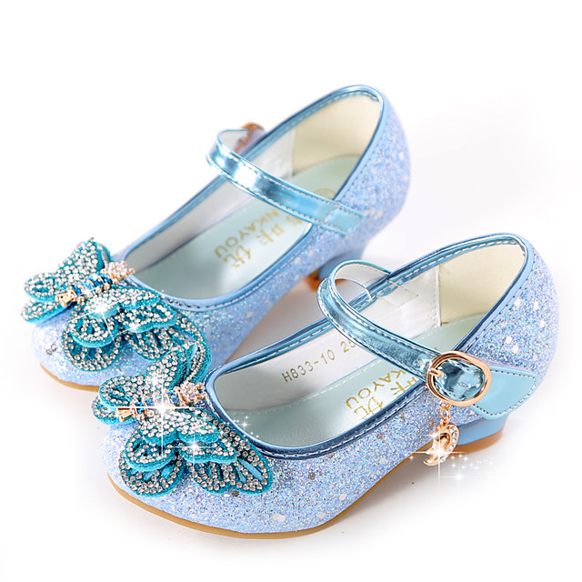 Girls' Heels Moccasin Flower Girl Shoes Princess Shoes Rubber PU Little Kids(4-7ys) Big Kids(7years +) Daily Party & Evening Walking Shoes Rhinestone Buckle Sequin Purple Blue Pink Fall Spring
