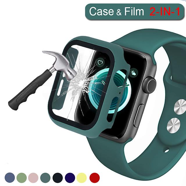 Cubierta completa 2in1 para apple watch series 5 4 3 2 estuche rígido de parachoques de plástico mate con película de vidrio para protector de pantalla iwatch