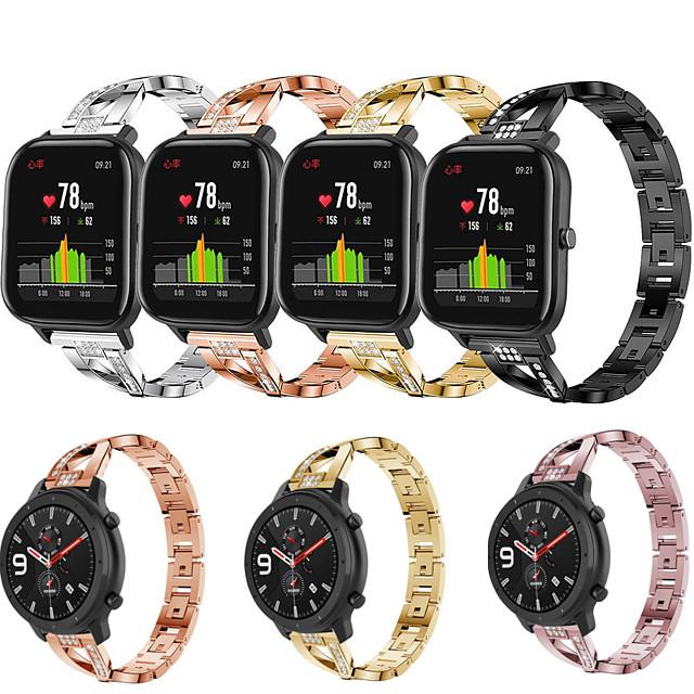 حزام ساعة من الفولاذ المقاوم للصدأ الماسي لـ amazfit gtr 42mm 47mm / gts / bip lite / bip s / amazfit stratos 3 / stratos 2 2s / amazfit pace / xiaomi watch color / xiaomi heylou ls05 bracelet wrist