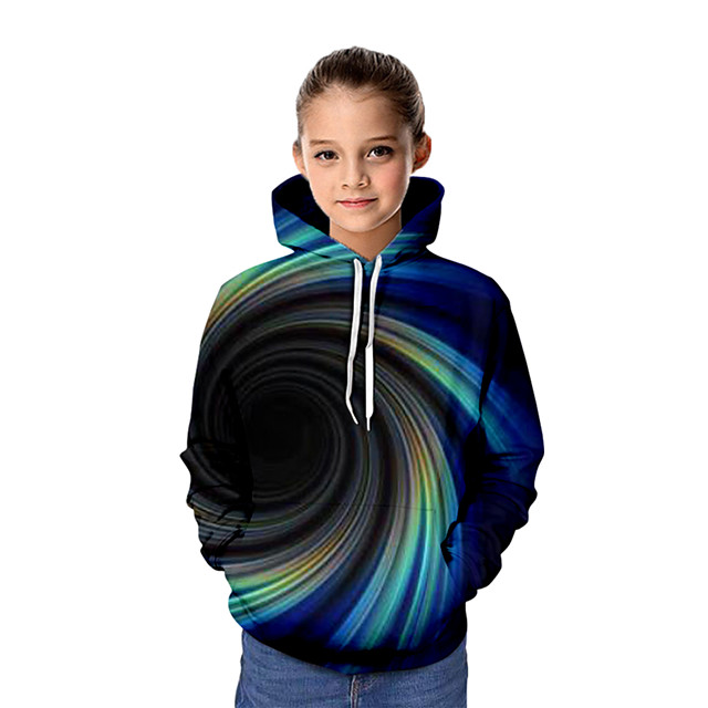 Kinderen Voor meisjes Hoodie & Sweatshirt Grafisch 3D Lange mouw Basic blauw