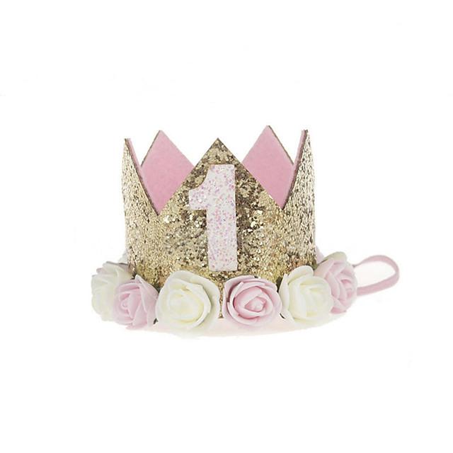 bébé princesse anniversaire chapeau diadème couronne sparkle style de fleur d'or avec fleur de rose artificielle