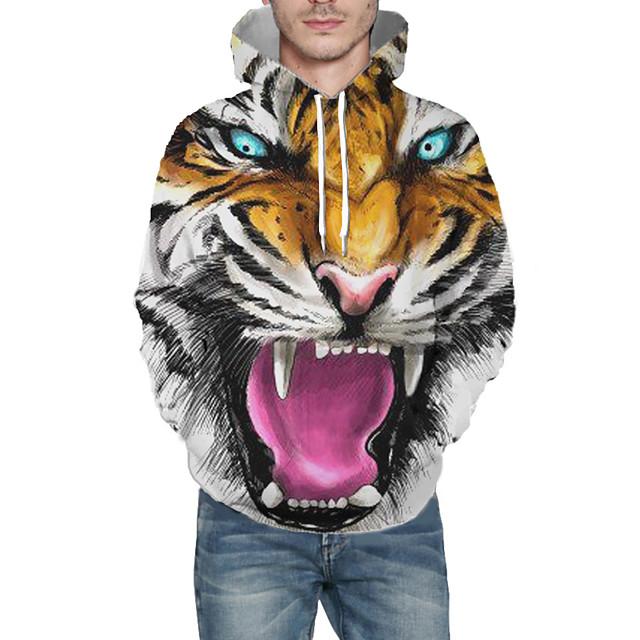 Voor heren Dagelijks Sweatshirt met capuchon Grafisch dier Capuchon Basic Hoodies Sweatshirts Lange mouw Geel