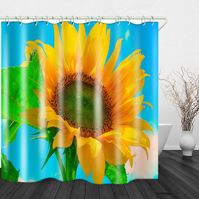 zonnebloemen onder de blauwe hemel print waterdichte stof douchegordijn voor badkamer interieur bedekt badkuip gordijnen voering omvat met haken