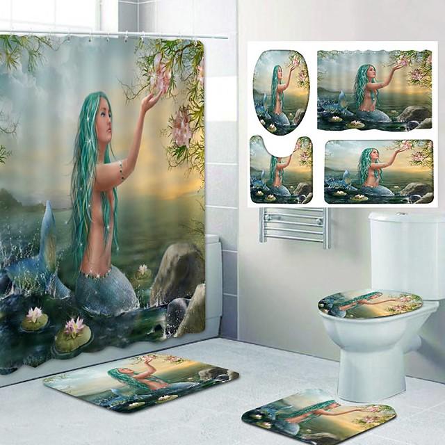 Mermaid Pattern PrintingBathroom Shower Curtain Leisure Toilet Four-Piece Design