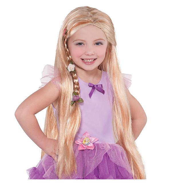 Perruques de Déguisement Rapunzel Bouclé Partie médiane Perruque Très long Blond Cheveux Synthétiques Femme Animé Cosplay Exquis Blond