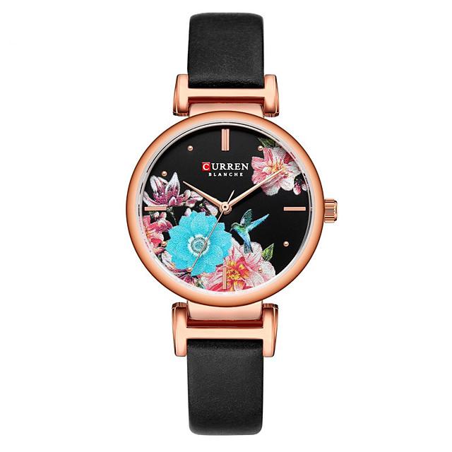 CURREN Dames Quartz Horloge Kwarts Moderne Style Bloemen Stijl minimalistische Waterbestendig Analoog Rose Goud Zwart Goud / Een jaar / Echt leer / Japans / Stootvast / Echt leer