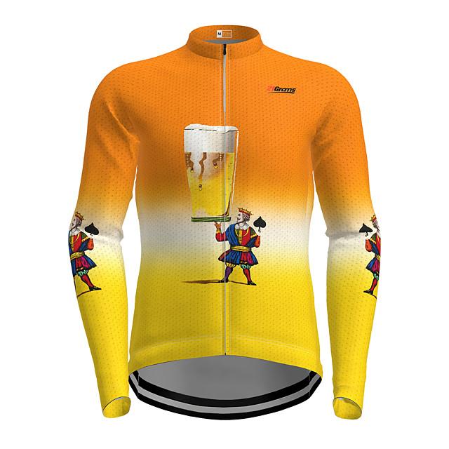 21Grams Voor heren Lange mouw Wielrenshirt Oranje Cartoon Fietsen Shirt Kleding Bovenlichaam Bergracen Wegwielrennen Sneldrogend Sport Kleding / Micro-elastisch