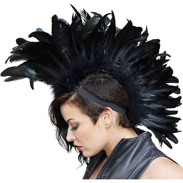 Kostuum pruiken Mohawk Recht Asymmetrisch kapsel Pruik Gemiddelde Lengte Zwart Synthetisch haar Dames Anime Cosplay voortreffelijk Zwart