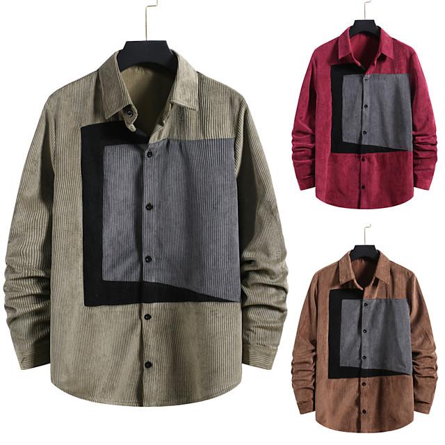 Voor heren Overhemd niet-afdrukken Kleurenblok Grote maten Patchwork Lange mouw Dagelijks Tops Corduroy Elegant Vintage Rood Klaver Bruin