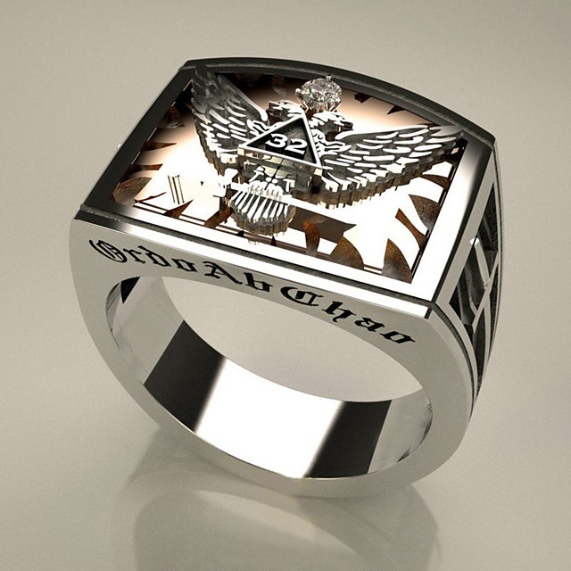 Band Ring Zirconiu Cubic două pietre Argintiu Alamă Vultur Declarație Supradimensionat 1 buc 7 8 9 10 11 / Bărbați
