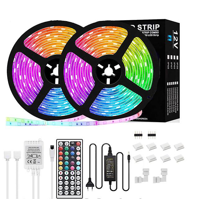 lumini de bandă led 5m 10m rgb bandă de lumină led 5050 flexibil 150-300 led benzi de lumină schimbătoare de culoare cu telecomandă pentru iluminat acasă pat bucătărie decor bar