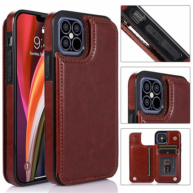 telefono Custodia Per Apple Per retro Custodia in pelle iPhone 12 Pro Max 11 SE 2020 X XR XS Max 8 7 6 Porta-carte di credito Con supporto A calamita Tinta unita pelle sintetica