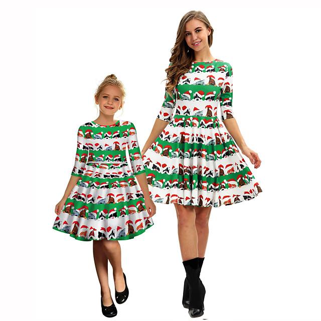 Kerstman Jurken Mama en ik Kinderen vakantie jurk Kerstmis Kerstmis Polyesteri Kleding