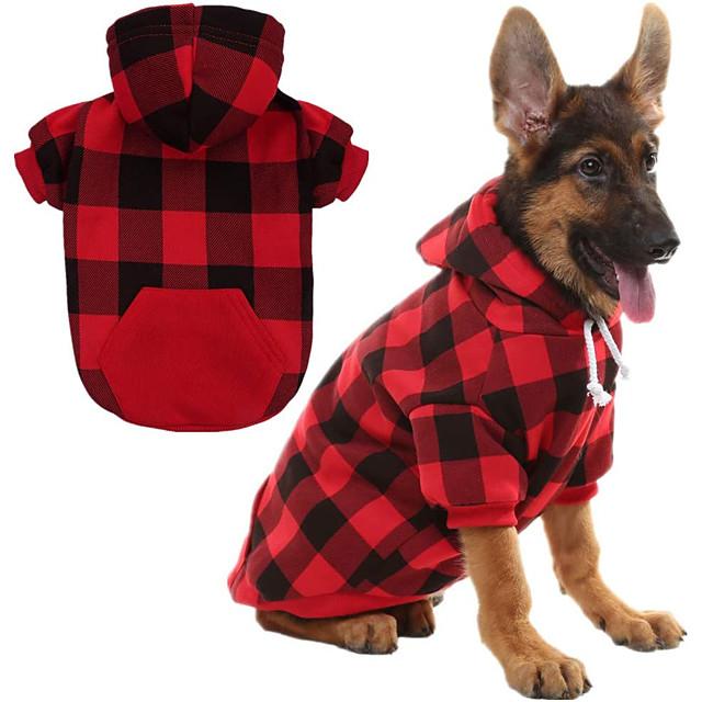 Prodotti per cani Prodotti per gatti Maglioni Felpe con cappuccio A quadri Classico Natale Casual Inverno Abbigliamento per cani Vestiti del cucciolo Abiti per cani Caldo Blu Rosso Costume per