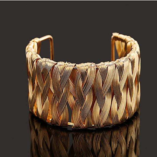 Dames Cuff armbanden Gevlochten Mode Modieus Legering Armband sieraden Goud Voor Vuosipäivä Feest / Avond